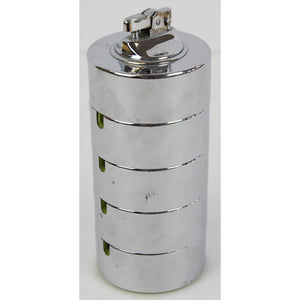 4 Stacking Chrome Ashtrays & Lighter