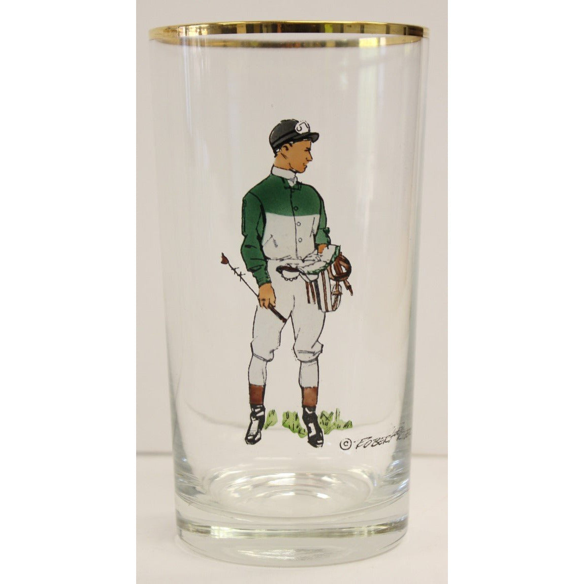 Set of 10 Robert Riger Green Jockey Highball Glasses