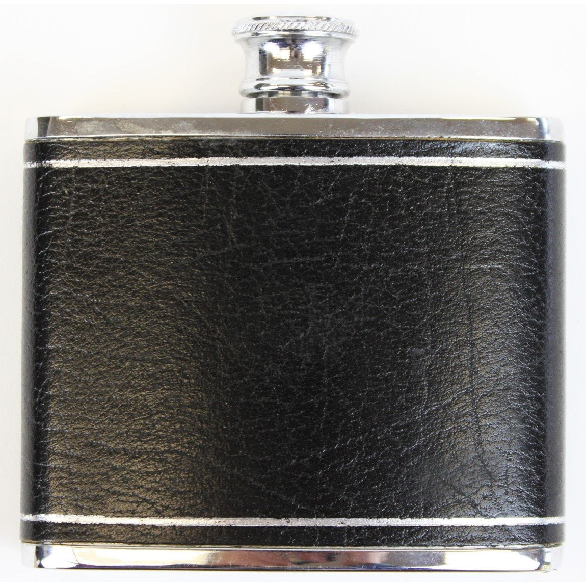 4oz. Black Leather Embossed Chrome Flask