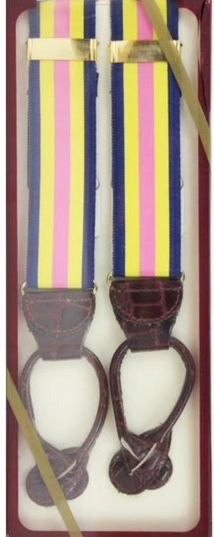 'Pink/ Yellow/ Navy Stripe Grosgrain Braces w/ Pressed Leather Tabs' (NiB!)