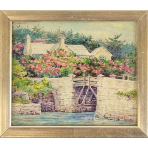 """Silver Framed Bermuda Cottage Print"""