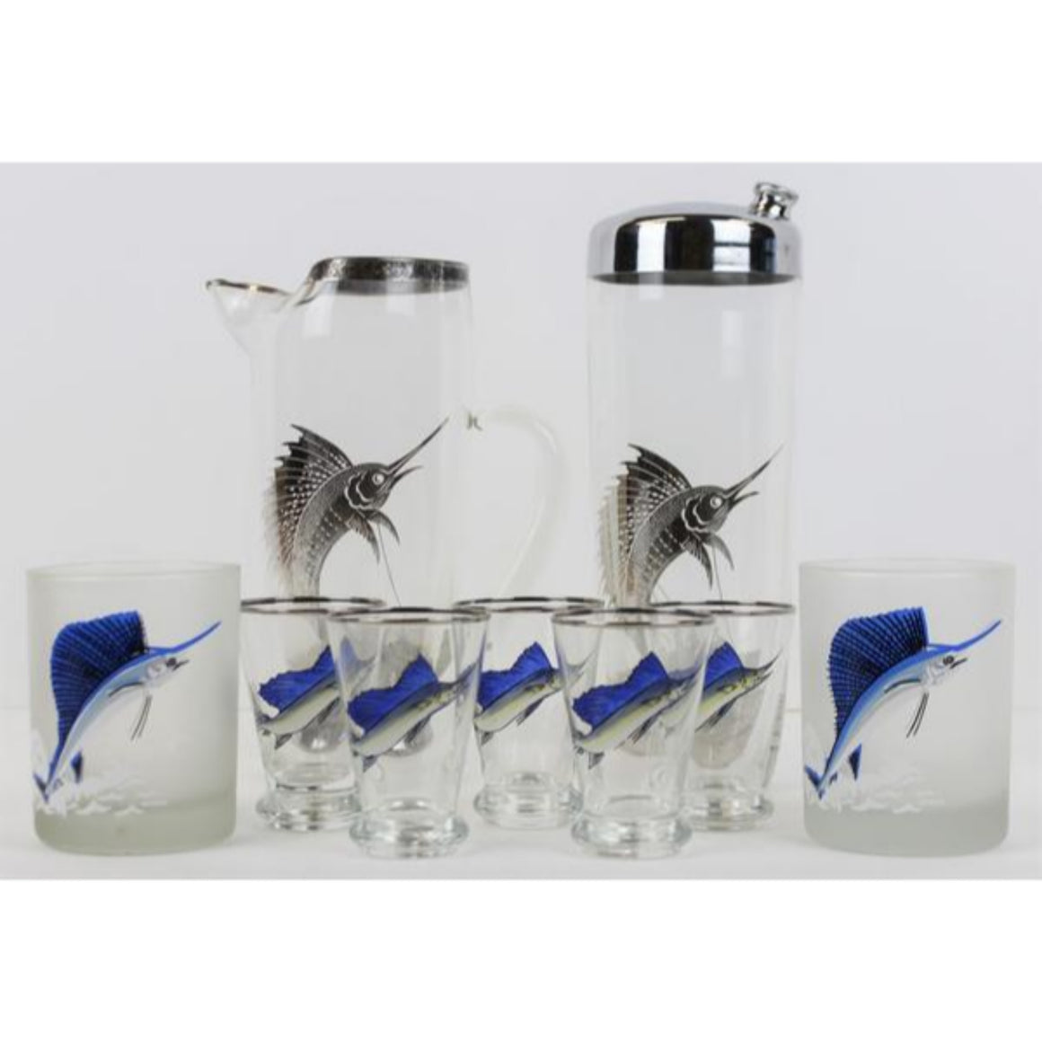 Set of 5 Hand-Painted Sailfish Shot Glasses, Pair of Nina Sailfish Frosted Old-Fashioned Glasses, 1 Silver Sailfish Pitcher, & 1 Silver Sailfish Glass Cocktail Shaker