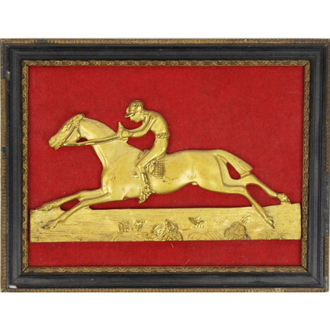 Brass Jockey on Racehorse Mounted Relief Frame