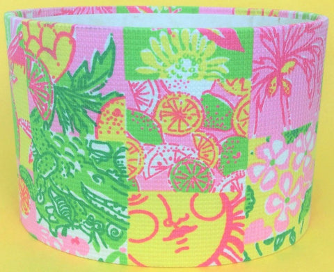 Lilly Pulitzer Patchwork Fabric Oval Stationary Holder""