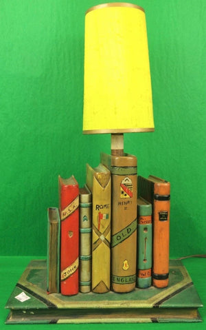 7 Faux Books Lamp w/ Yellow Shade