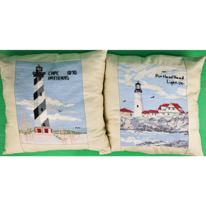 Pair of Lighthouse Custom Needlepoint Pillows