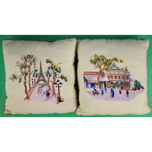 Pair of Custom Parisien Needelpoint c60s Pillows