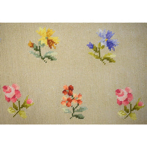 Custom Twin-Panel Floral Needlepoint Area Rug
