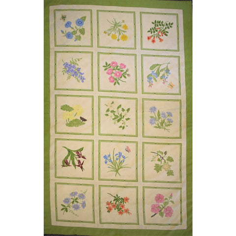 Custom 15 Panel Petit Point Bamboo Floral Needlepoint Area Rug