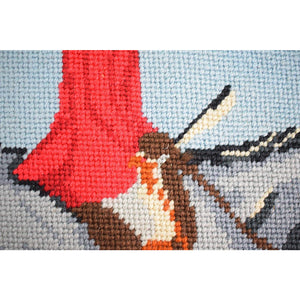 Custom Fox Hunter w/ 3 Hounds Needlepoint Area Rug