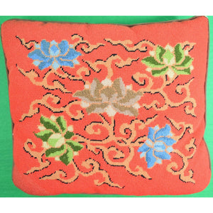 Pair of Coral Floral Needlepoint Pillows
