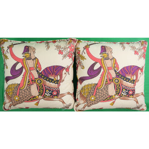 Pair of Rose Cumming Cavalry Pillows