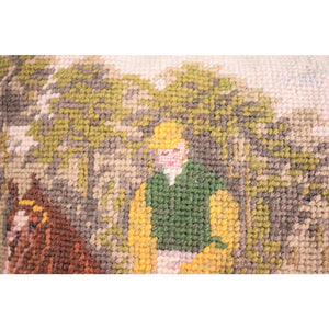 English Jockeys Needlepoint Pillow