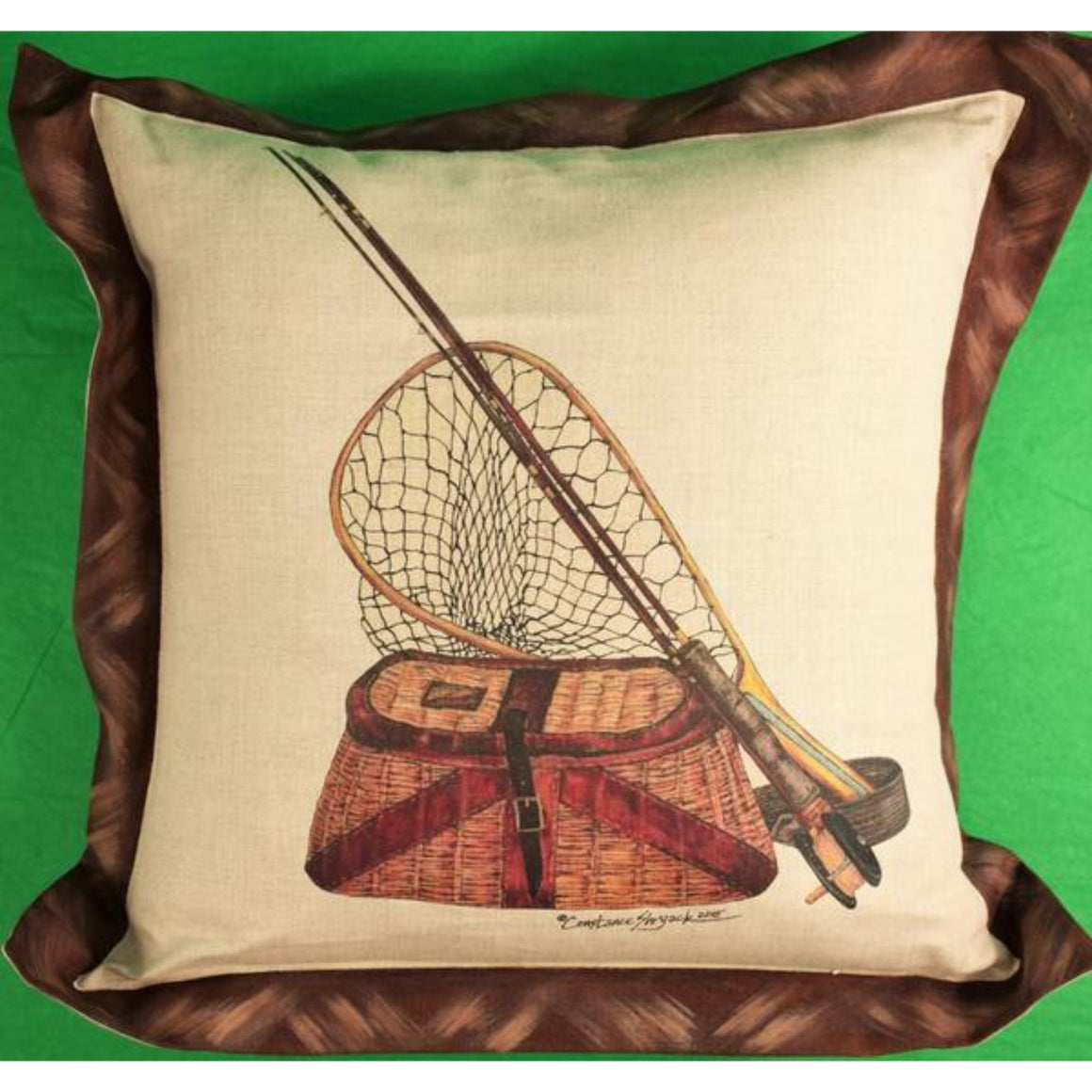 'Orvis Fly Fishing: Creel/Fly Rod & Net Hand-Painted 2015 Pillow'