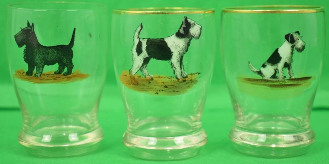Set of 3 Hand-Painted Terrier Shot Glasses