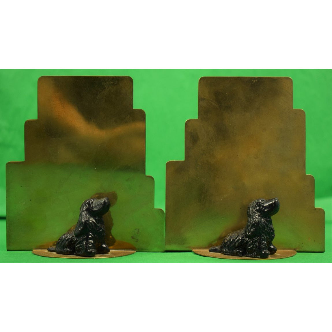 Pair of Black Springer Spaniel Brass Bookends