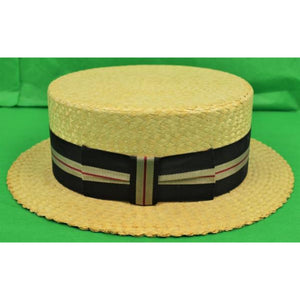 'Straw Boater w/ Regimental Grosgrain Stripe Ribbon Band' Sz: 7
