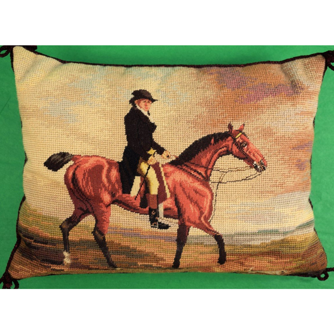 English Huntsman Needlepoint Pillow