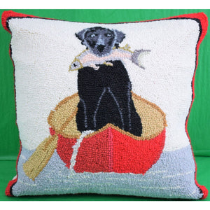 Black Lab w/ Trout in Canoe Stitched Pillow