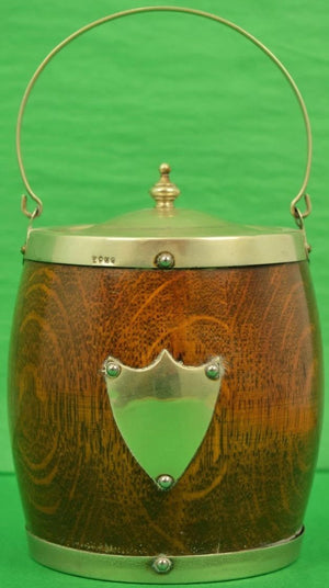 English Wooden Ice Bucket w/ Porcelain Lining & Sterling Crest & Rim