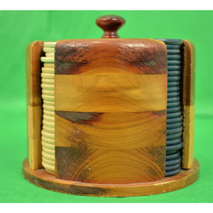 Cylindrical Stacking Wooden Dispenser of 100 Bakelite Jockey Poker Chips