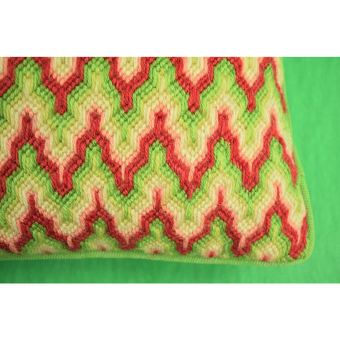 Red & Green Hand-Stitched Pillow