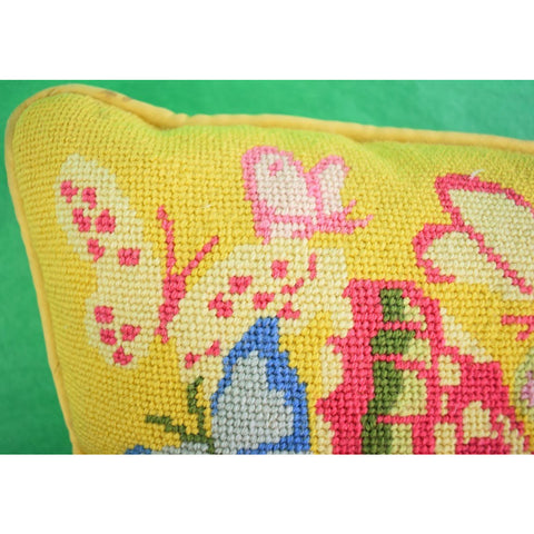 Pink & Yellow Needlepoint 'Butterfly' Pillow