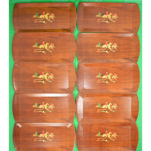 Set of 11 Fox Hunt Wooden Stacking Trays