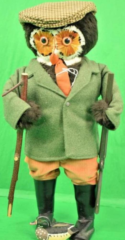 "Abercrombie & Fitch c.1960's London Owl ""The Gamekeeper"" w/ Duck Decoy/ Walking Stick & Gun"