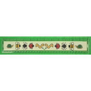 Needlepoint 10 Insect Canvas Lucite 12 inch Ruler Made in Britain