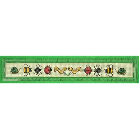 "Needlepoint (10) 'Insect' Canvas Lucite 12"" Ruler Made in Britain"