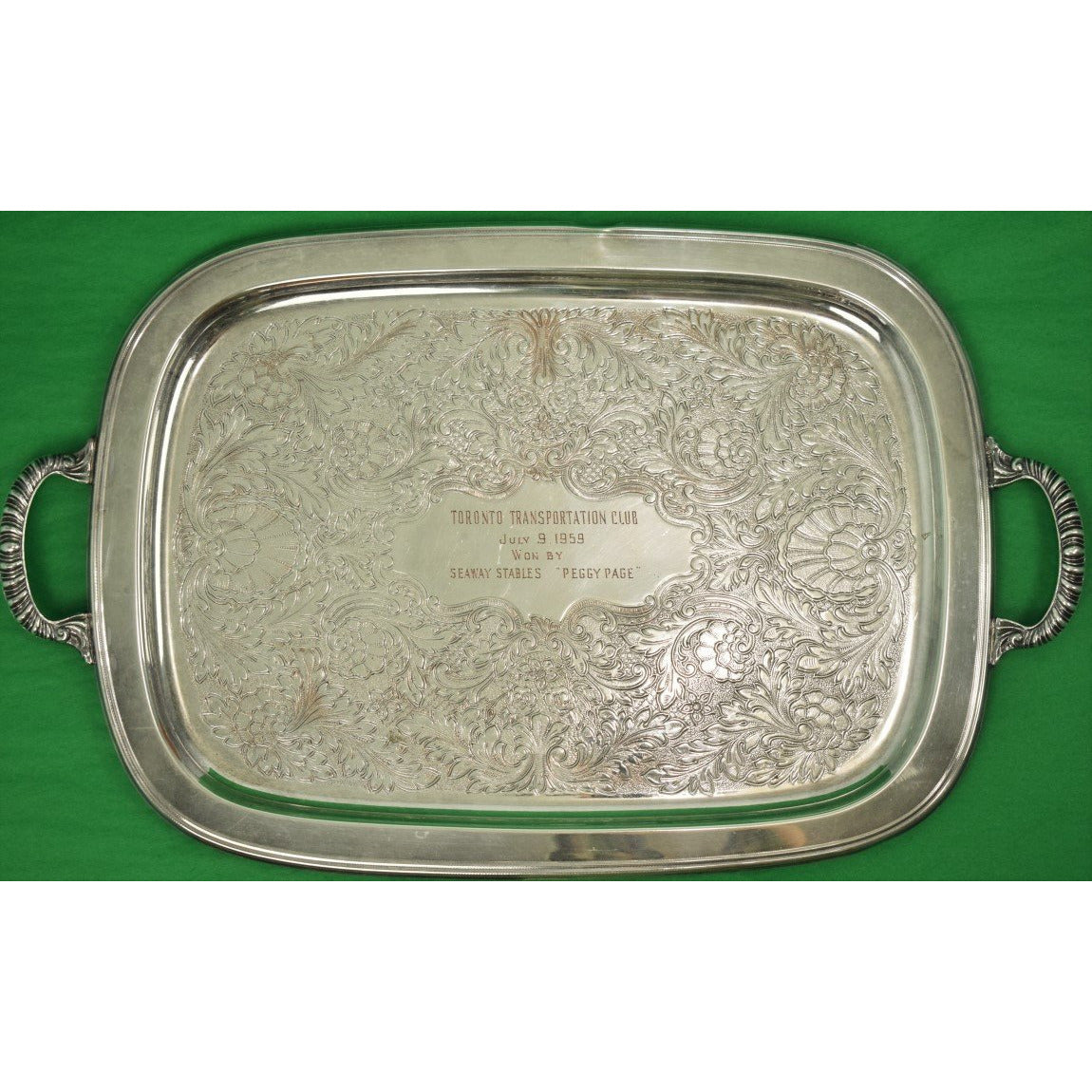 Toronto Transportation Club 1959 Woodbine Racecourse Silverplate Presentation Tray