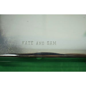 International Silverplate Cigarette Case Engraved: Kate and Sam 10-27-62