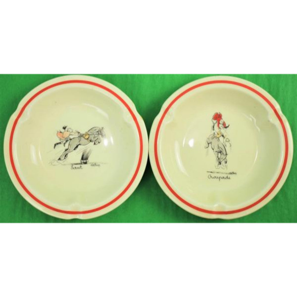 Pair of Abercrombie & Fitch 'Foxhunter' Limoges Ashtrays