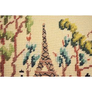 Pair of Parisien Celedon Green Needlepoint Pillows
