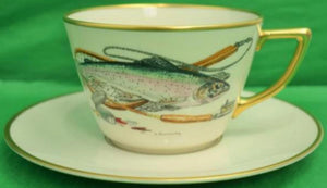 Trout Fly-Fishing Cup & Saucer Hand-Painted by Frank Vomansky for Abercrombie & Fitch