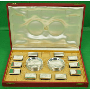 Cartier Sterling Silver Set of 12 Coasters/ Ashtrays & 11 Matchbook  Holders All Engraved: MRB 'Mary Rionda Braga'