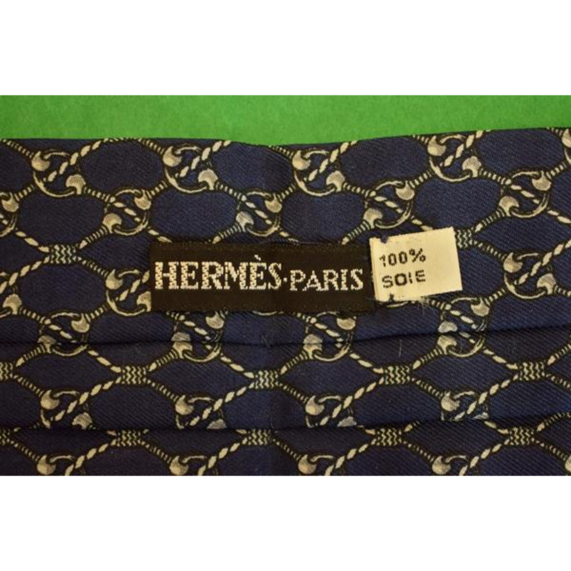 'Hermes of Paris Navy Silk Cravat'