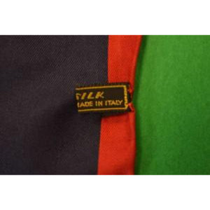 Gent's Italian Silk Navy Pocket Square w/ Red Border