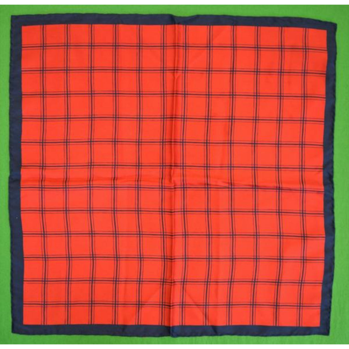 'Navy & Red Plaid English Silk Pocket Sq'