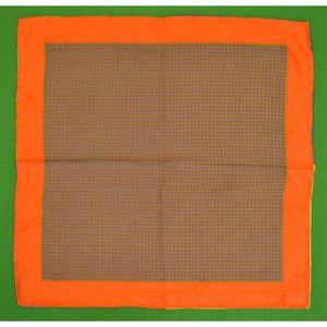 'Silk Foulard Pocket Sq w/ Multicolour Piping'