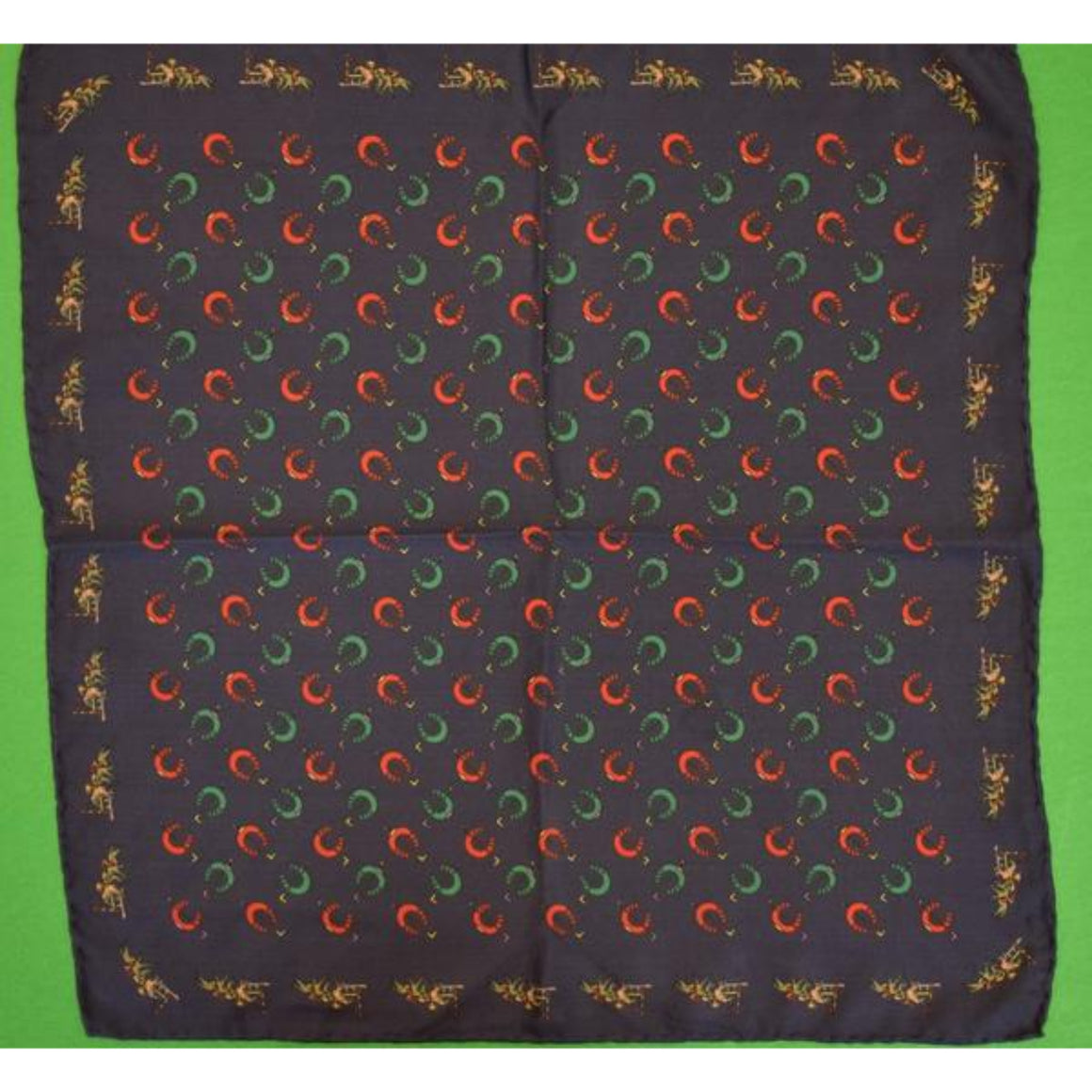 'Navy Silk Pocket Sq w/ Jockeys/ Horseshoes & Riding Crops'