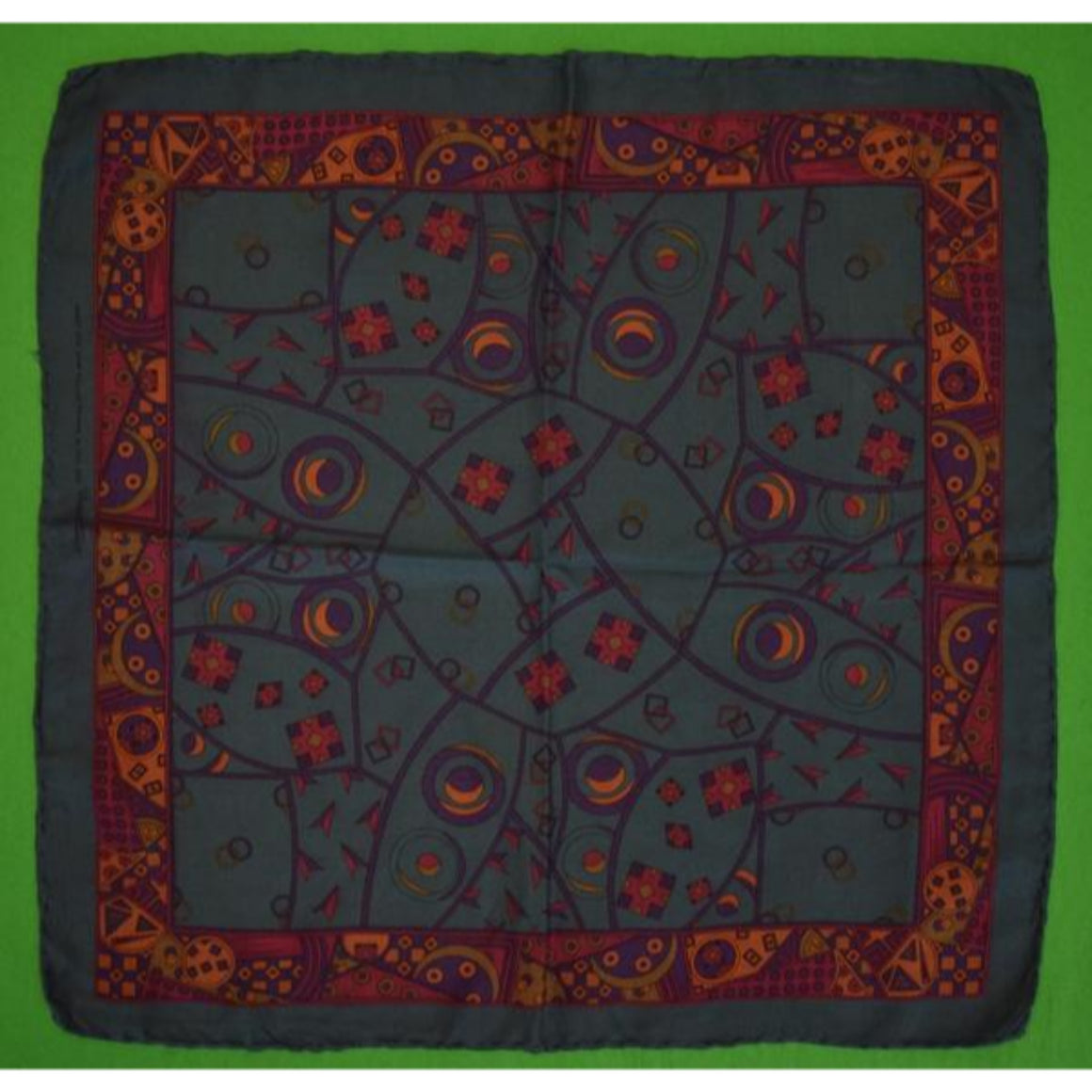 'Robert Talbott Italian Silk Teal Abstract Pocket Sq'