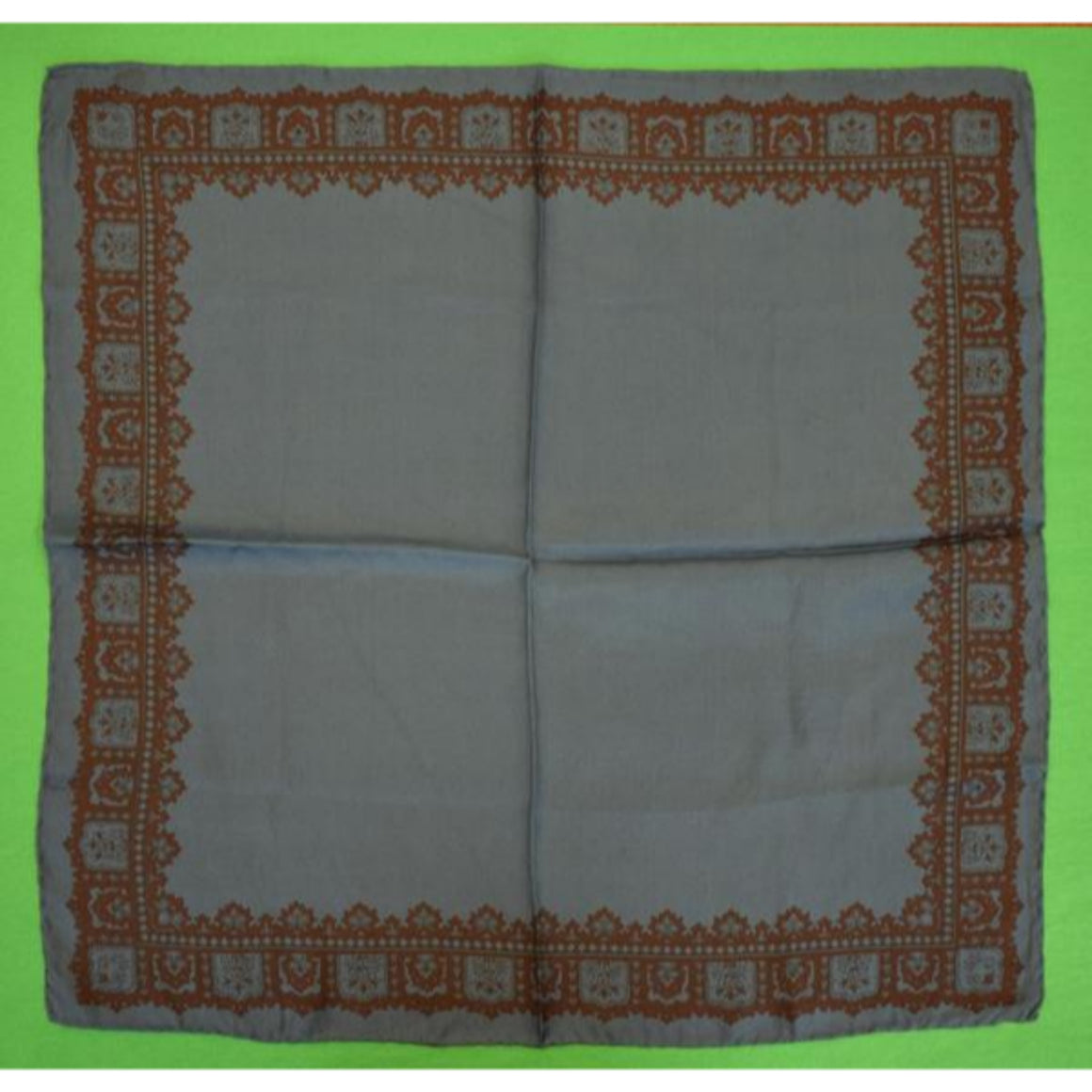 'Slate Blue Silk Foulard Pocket Sq'