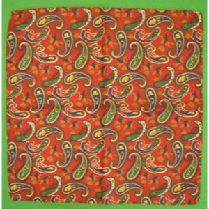 'Hanauer Red Silk Paisley Equestrian Silk Pocket Sq'