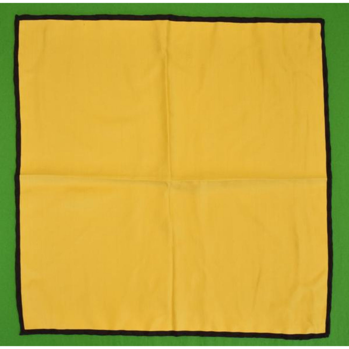 'Yellow Silk w/ Navy Trim Pocket Sq'