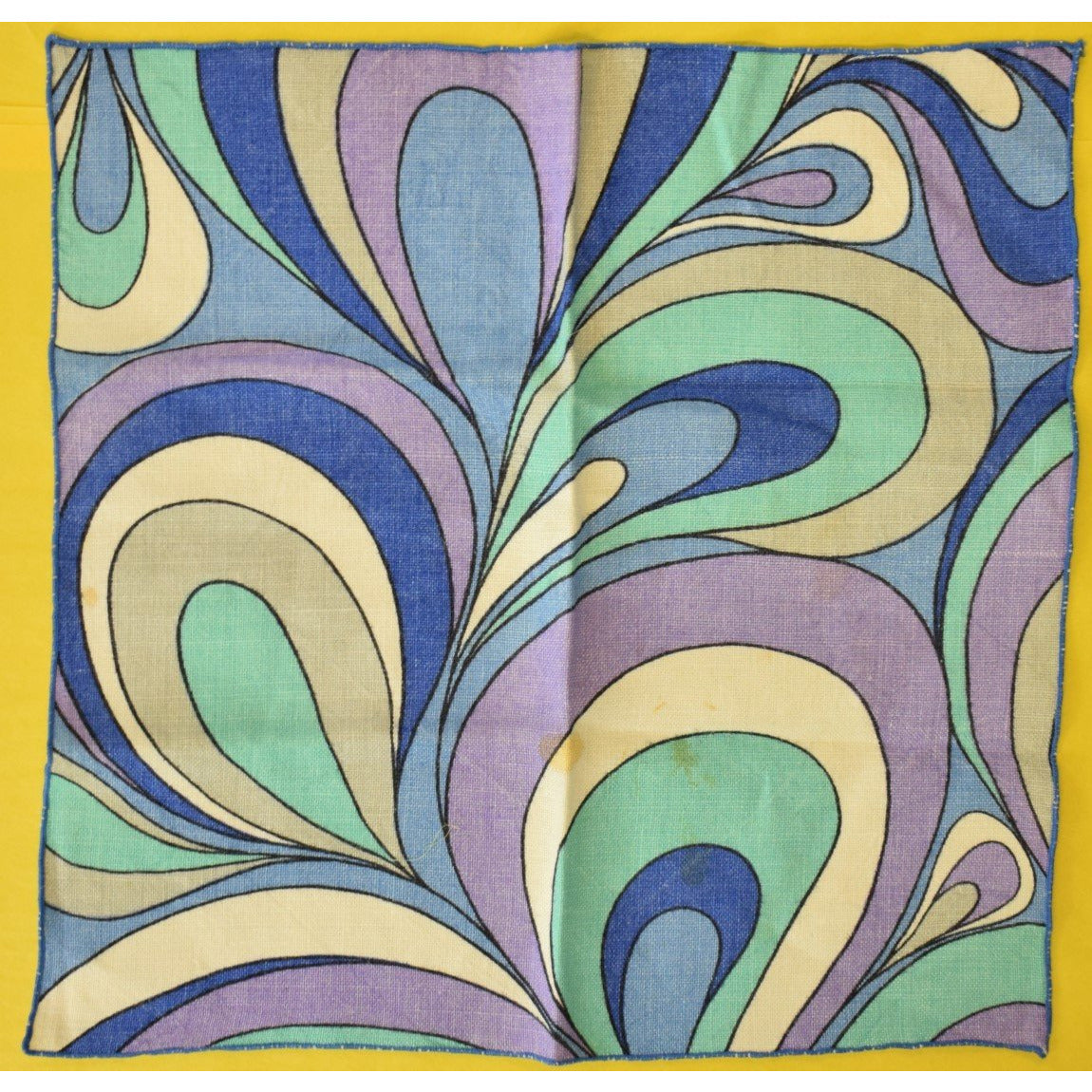 Linen Table Mat w Purple, Turquoise & Periwinkle Swirl Pattern