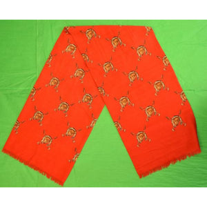 'Hunting Red Challis Fox-Mask Print Scarf/ Cravat'
