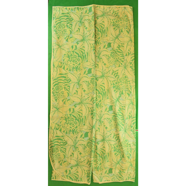 Pair Of Lilly Pulitzer Palm Green Floral Tiger Print Shower Curtains