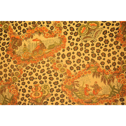 Pair of Brunschwig & Fils Chinoiserie Leopard Toile Print Canvas Window Rolls